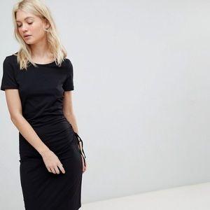 Vero Moda Gathered Side Midi Dress in Black